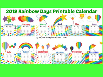 Love Rainbows? You Need This Free Printable 2019 Calendar!
